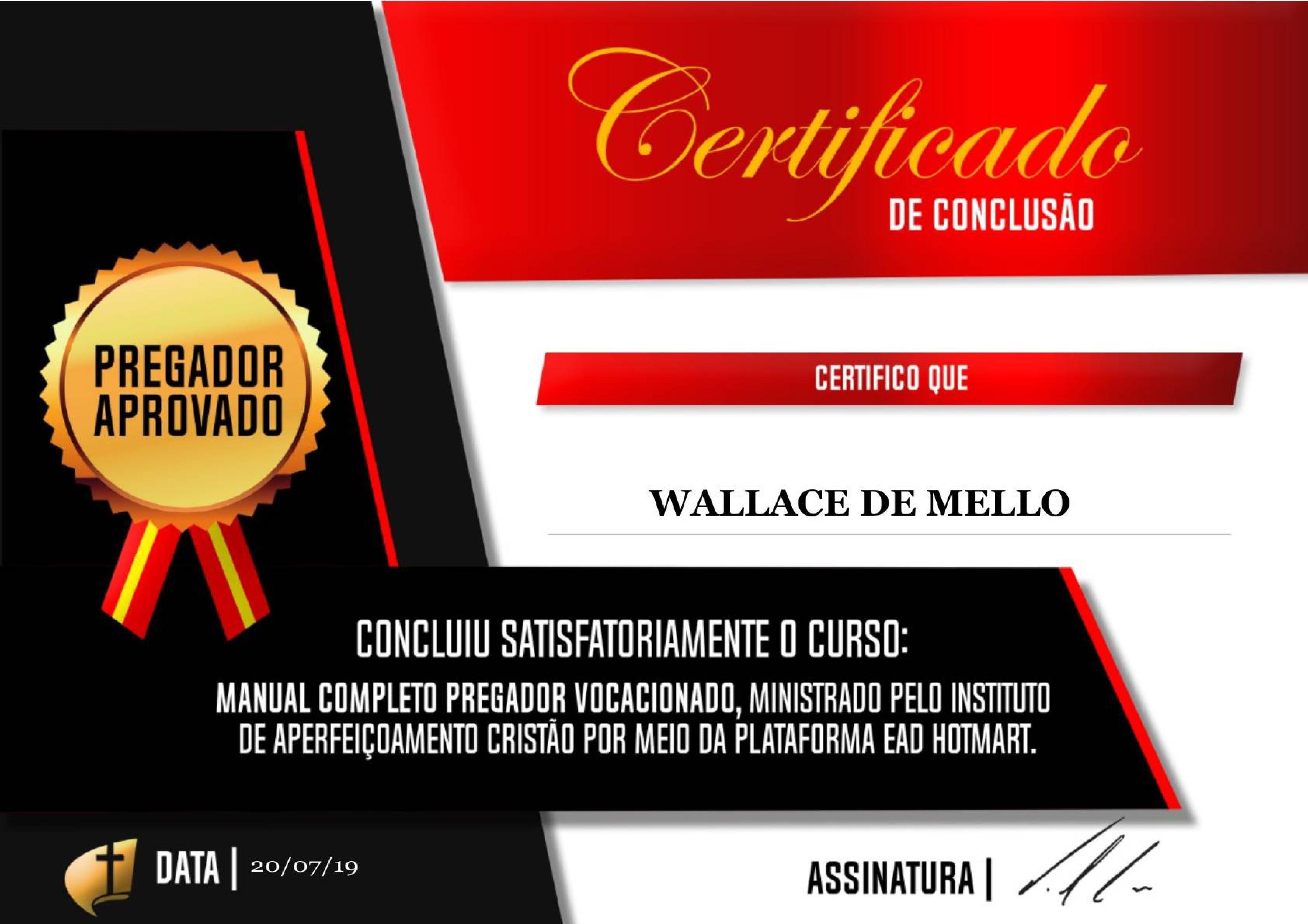 certificado manual completo pregador vocacionado