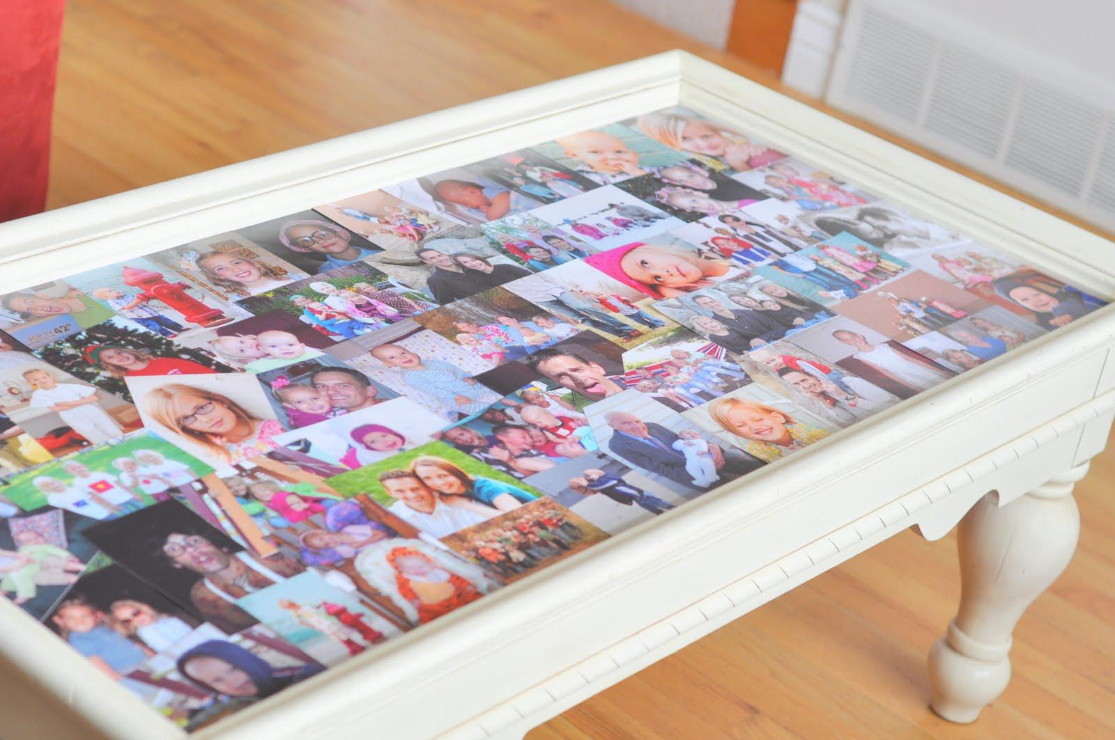 Mesa de centro com colagem de fotos DIY