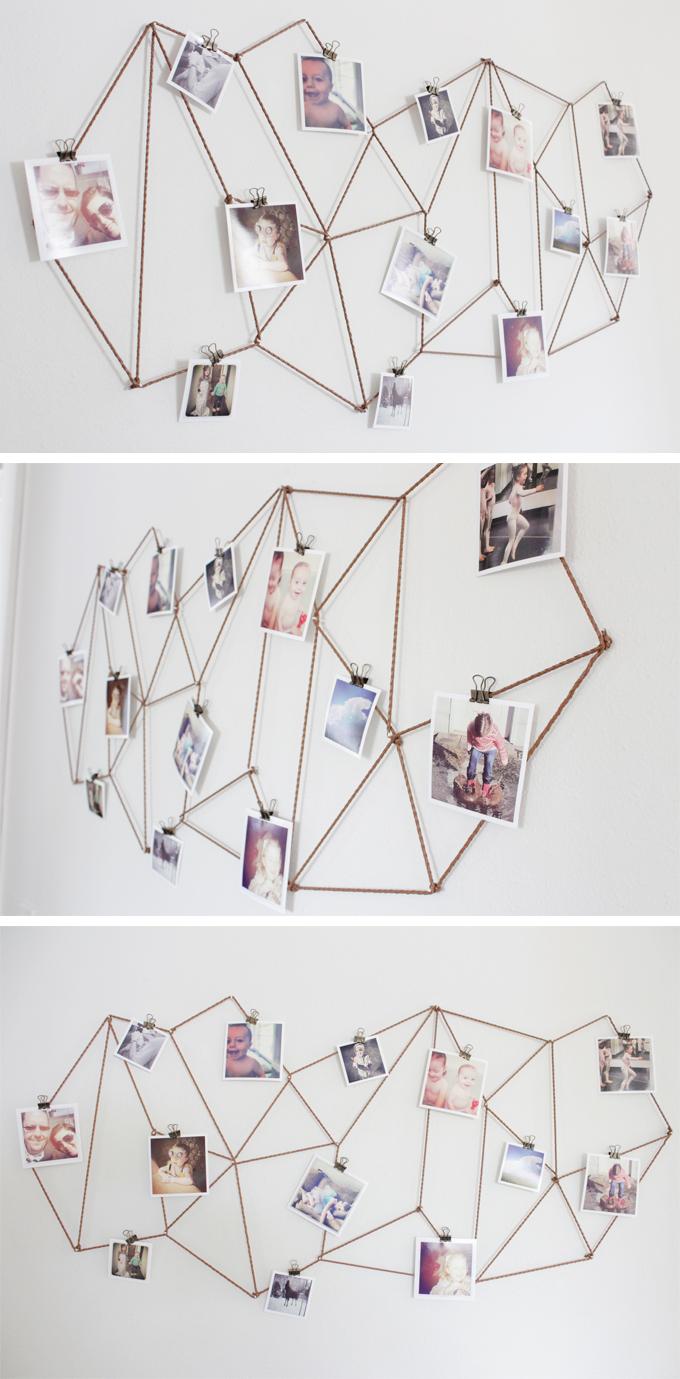 Colagem de fotos de cordas geométricas faça você mesmo