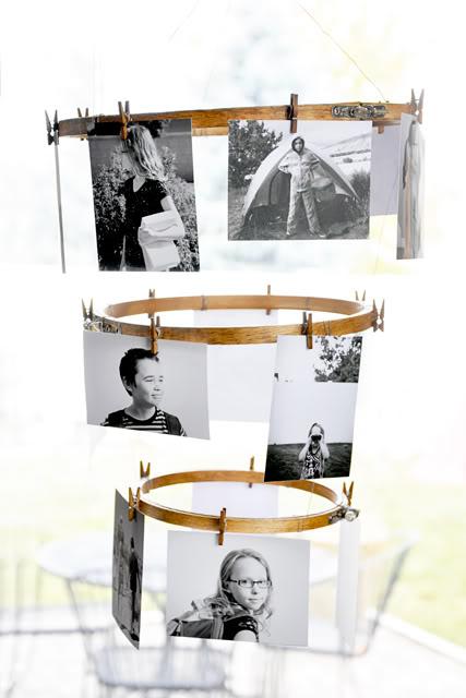 Colagem de fotos de bastidor de bordar faça você mesmo