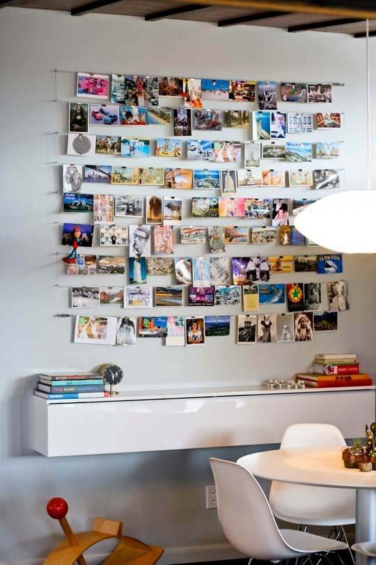 DIY pendurado na parede da colagem de fotos