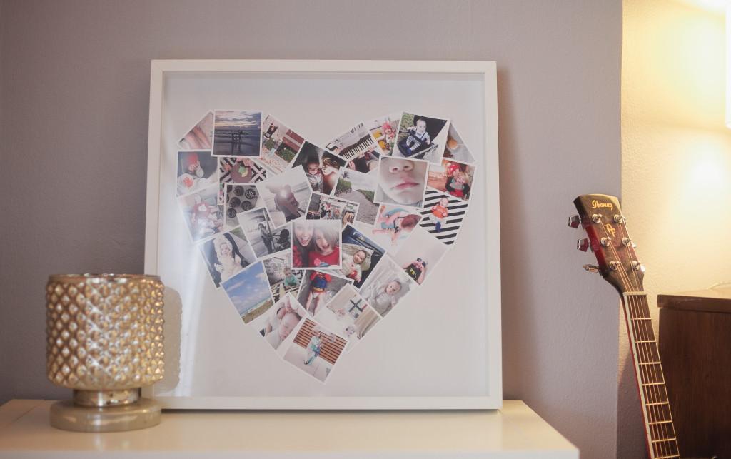 Faça você mesmo, mini colagem de fotos de coração
