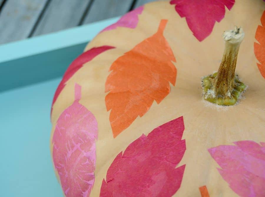 DIY folha de papel de seda colorido abóbora