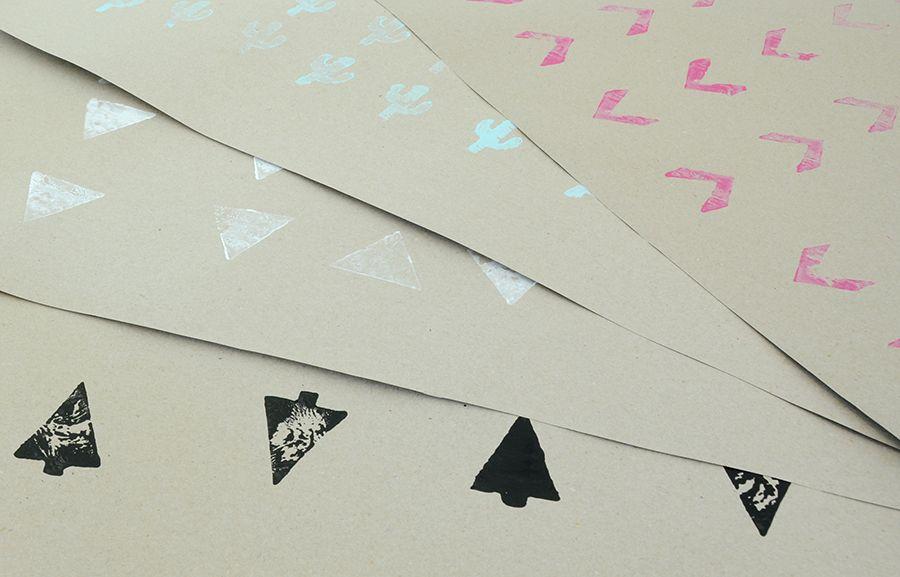 Samp caixa de presente impressa à mão DIY
