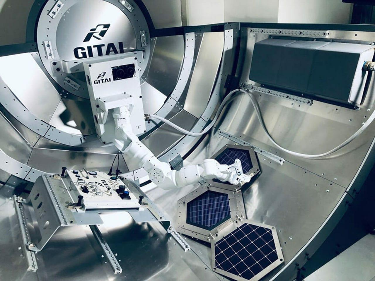 Demonstração tecnológica do robô GITAI no módulo ISS BISHOP Airlock (modelo), que foi construído no escritório da GITAI em Tóquio.