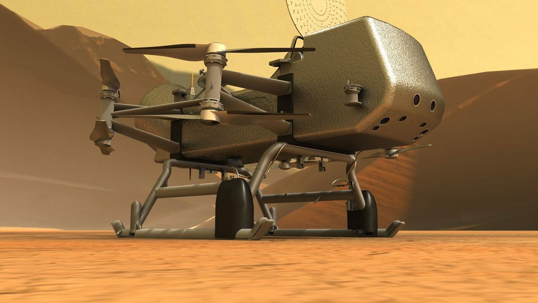 Impressão artística da libélula na superfície de Titã.