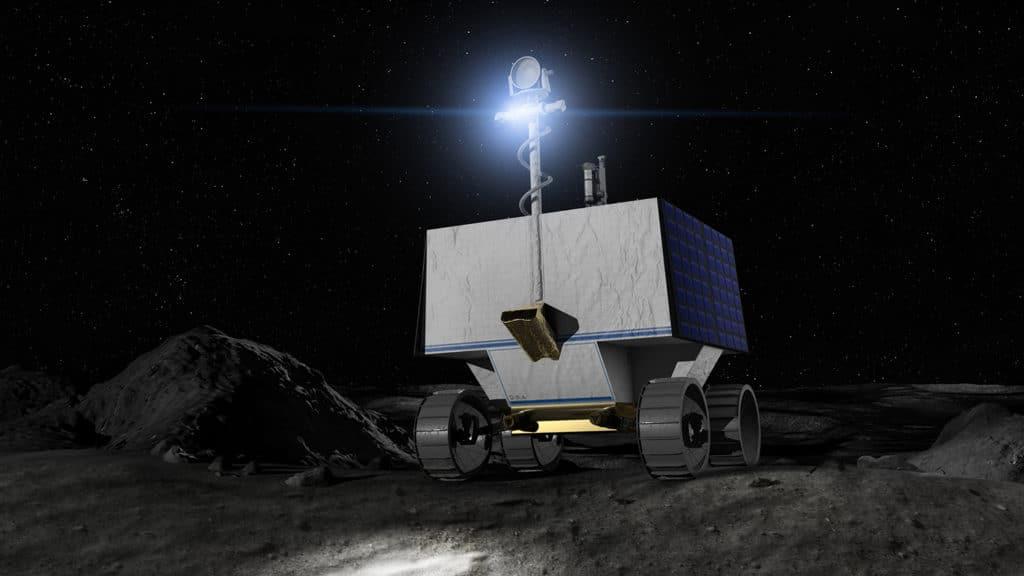 Ilustração do robô lunar robótico da NASA (VIPER) na superfície lunar.