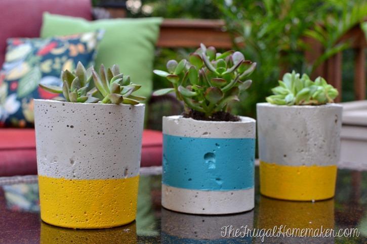 Plantadores de concreto pintados faça você mesmo