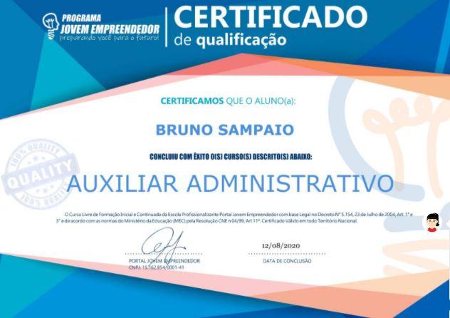 certificado curso auxiliar administrativo